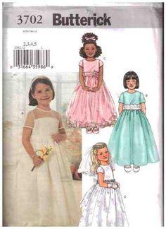 Butterick Sewing Pattern 3702  Girl's Dress, Veil  Size:  2-3-4-5  Uncut