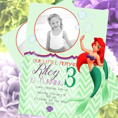 Little Mermaid Birthday Invitation, Ariel Invitation, The Little Mermaid Party Printables + FREE Matching Thank You Card!