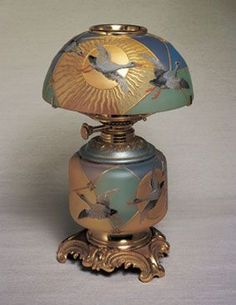 royal FLEMISH ___glass Mount Washington Glass Co. Blown Royal Flemish Glass and brass Kerosene Lamp Circa 1889-