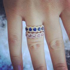 5 Stone Blue Sapphire Diamond Anniversary Ring on 14K Yellow Gold, AND 5 Stone Pink Morganite on 14K Rose Gold Diamond Halo Ring