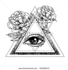 Blackwork tattoo flash. All seeing eye pyramid symbol with peony flower. Sacred…