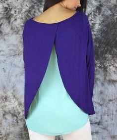 Look at this #zulilyfind! Cobalt Blue & Aqua Chiffon-Back Swing Top - Women & Plus #zulilyfinds