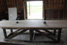 12' Reclaimed Barn Wood Trestle Table - Good base to start with