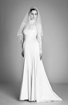 "Rustic-Chic Wedding Gowns  ~~  High Society:  A high-neck gown with long lacy sleeves is both on-trend and timeless.  Browse more long-sleeved wedding dresses.    ""Grace"" Dress From Temperley London via Lover.ly."