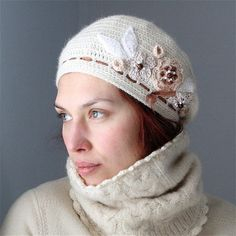 Crochet Beret style Hat with Flower by PatternsbyMarianneS on Etsy b3138eff20