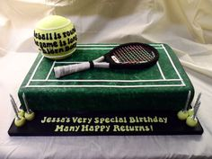 Tennis Theme Tennis court cake with tennis ball, 2:1 scale replica of customer's racquet, mini tennis ball candle holders.