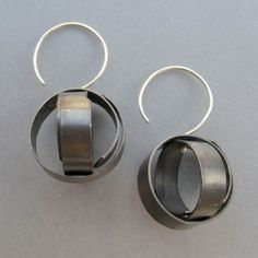 Sphere Earrings - Beth Pohlman: Oxidized rolled silver, wear them flat or pouffed out.