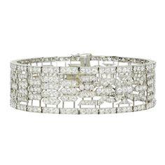 Art Deco Lacloche Paris Important Diamond Bracelet | From a unique collection of vintage link bracelets at https://www.1stdibs.com/jewelry/bracelets/link-bracelets/