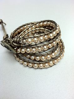 Faux Pearl and Leather Wrap Bracelet, chan luu style. $59.00, via Etsy.