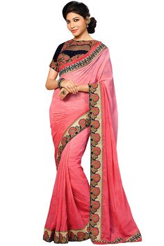 Buy online sarika pink color designer saree with designer blouse from our store styloshopper.com