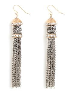 Indulge in the exquisite gypsy vibe of these stunning earrings. Shaped like posh tassels, they feature a lush cascade of fringe crafted from glittering silver chain links.  $26