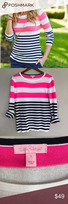 "Lilly Pulitzer Gwyneth striped pullover sweater EUC, very minimal wear, no flaws, neon pink, white and navy stripes, bust measures 18"" across and length is 25"" Lilly Pulitzer Sweaters Crew & Scoop Necks"