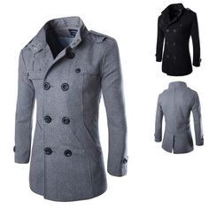 Men's Fashion-Style Double-Breasted Wool Winter Coat XS-XL 2 Colors