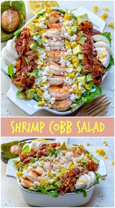 ULTIMATE Shrimp Cobb salad + Fresh Lemon-Chive Salad Dressing - Clean Food Crush Skip the corn and use mayonnaise and sour cream instead of the yogurt. Clean Recipes, Cooking Recipes, Healthy Recipes, Cooking Games, Cooking Classes, Clean Foods, Easy Recipes, Diet Recipes, Healthy Salads