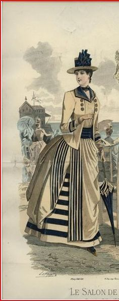 1883 seaside dress. Blue and white. Enough said, but I love the contrast of the horizontal and vertical stripes.