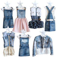 Jeans dresses for a little princesse Jean Outfits, Dress Outfits, 3d Templates, Adblock Plus, Jeans Dress, Full Set, Overall Shorts, Blue Jeans, Overalls