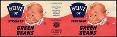 Heinz baby food - Strained Green Beans jar label - 1960's by JasonLiebig, via Flickr