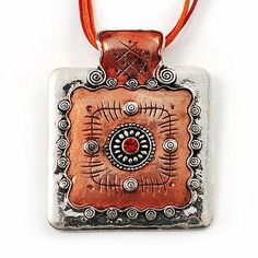 Ornate Orange Square Enamel Cord Pendant Avalaya. $12.42. Gemstone: diamante. Occasion: club night out, cocktail party, going to theatre, casual wear. Material: enamel. Type: multi-strand. Metal Finish: rhodium plated