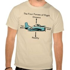 The four forces of flight aviation humour T-shirt. Just the gift for a pilot!  $37.90 from the Swamp Cartoons Zazzle store. http://www.zazzle.com.au/four_forces_of_flight_aviation_shirt-235154104743687720?rf=238100710189761270 #aviationhumorcartoon #aviationpilotgifts
