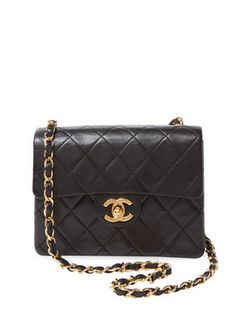 Black Quilted Lambskin Classic Half Flap Mini from Vintage Chanel: Handbags on Gilt