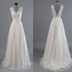 V-neck A-line Appliqued Long Wedding Dress ,Handmade Bridal Dress Make to Order