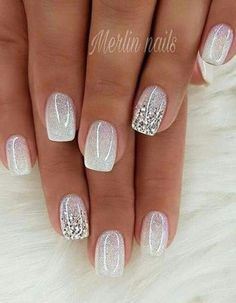 There are three kinds of fake nails which all come from the family of plastics. Acrylic nails are a liquid and powder mix. They are mixed in front of you and then they are brushed onto your nails and shaped. These nails are air dried. Bride Nails, Prom Nails, My Nails, Polish Nails, Weddig Nails, Glitter Ombre Nails, White Acrylic Nails With Glitter, Pink Glitter Nails, Hair And Nails