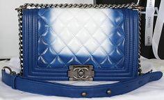 86e29435ca53 CN0068 Chanel Boy 2014 Flap Shoulder Bag in Original Leather A67086 Blue  Chanel Boy, Shoulder