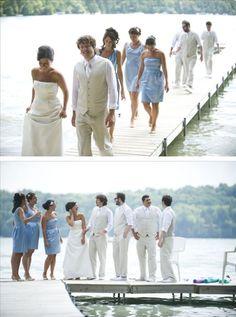 groomsmen style white lake wedding bride ideas