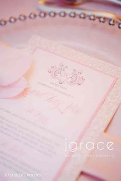 luxurious pink and silver handmade wedding menus with crystal embellishments by j grace