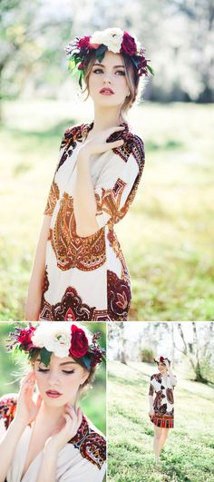 Senior portraits with floral flower crown