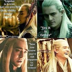Thranduil and Legolas Thranduil Funny, Legolas Und Thranduil, Gandalf, Hobbit Funny, O Hobbit, Tolkien Books, Jrr Tolkien, Movie Memes, Orlando Bloom