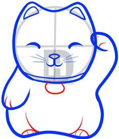 how to draw lucky cat, maneki neko, lucky cat step 5 Maneki Neko, Asian Quilts, Cat Steps, Japanese Cat, Cat Drawing, Drawing Guide, Cat Crafts, Cat Design, Cat Art