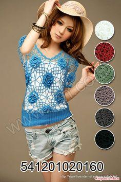 Asia modelo de moda de ganchillo