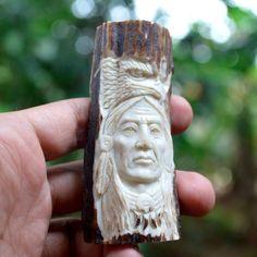 """Carved Indian Eagle Figurine Pendant 3.2"""" Deer Antler Carving AP1498 #Handmade"""