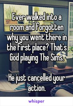 Ever walked into a room and forgotten why you went there in the first place? That's God playing The Sims.  He just cancelled your action.