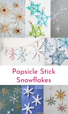 Easy winter snowflake ideas for kids #easycraftsforkids #popsiclesticksnowflakes #snowflakecrafts #wintercrafts #kidsart #winterart #snowcrafts
