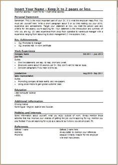 template uk cv - Google Search | Template UK Standard CV | Pinterest