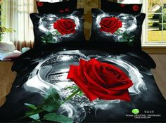 Queen/king size 3D Bedding Set - High Quality 3D Printed rose Duvet Cover Pillow Case and Sheet - Super Soft, Comfortable And Machine Washable - 100% Cotton, available on wish