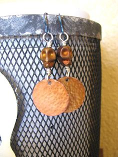 Niobium Skull Copper Disc Earrings by BeadToLive on Etsy