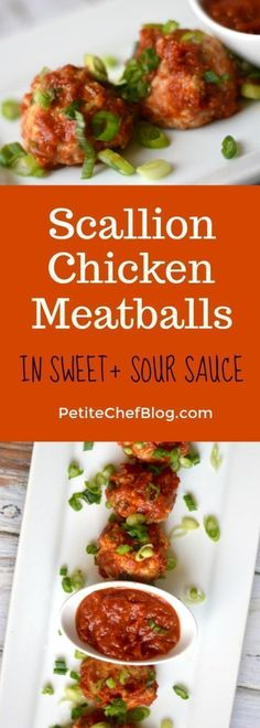 Healthy Scallion Chicken Meatballs in Sweet and Sour Sauce   So easy and perfect for meal prep!   PETITECHEFBLOG.COM