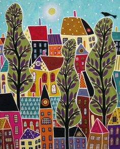 Karla Gerard; I really like the these winter colors #town #houses