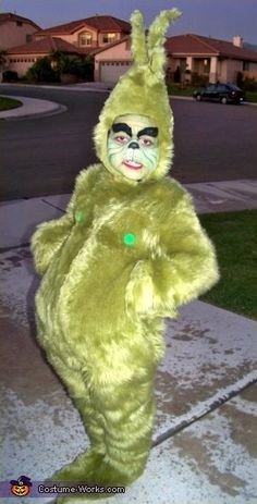 The Grinch Costume...This is so freaking cute! I love him. That face....