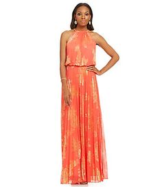 Xscape Metallic Floral-Print Sleeveless Blouson Gown | Dillard's Mobile