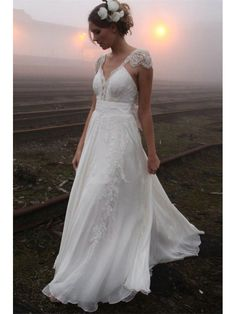 V NECK CAP SLEEVES CHIFFON BEACH WEDDING DRESS