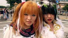 Portrait of Coz-play-zoku (costume play gang) members, Meji jingu bridge, Harajuku.