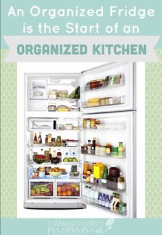 An organized kitchen starts with an organized refrigerator! Every time you have to open the door, you let out cold air. The longer it is open, the more money you are throwing away. Beverage Refrigerator, Refrigerator Organization, Small Kitchen Organization, Pantry Organization, Organized Fridge, Bathroom Organization, Organizing Tips, Food Storage Rooms, Home Management Binder