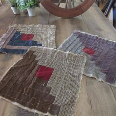 Very Primitive Wool & Suiting Antique Log Cabin Blocks 13x13 Primitive Country, Country Decor, Cabin, Decorating, Quilts, Wool, Antiques, Holiday Decor, Crafts
