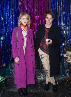 Natalia Dyer and Charlie Heaton at Cara Delevingne's holiday party.