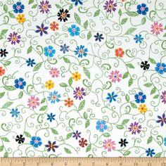 Stitches In Bloom Mini Floral Green - Hoffman Fabrics