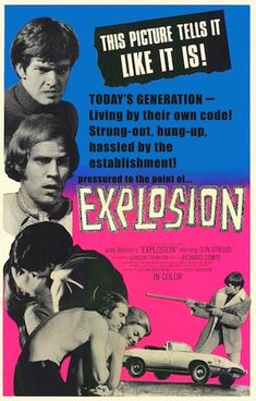 """EXPLOSION 1969. My son, the draft dodger! Back in the late 1960s people took drugs and made """"statement films"""" with lots of flashbacks. This is one of them.   ...When he arrives in Canada his first stop is a hippie bar playing loud rock 'n' roll and fuzz guitar music. He meets a new friend—a fringed, leather jacket-wearing protester who offers a crash pad and advice on how to score with hippie chicks. On DVD."""